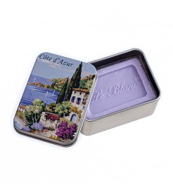 Мыло в жестяной коробочке Лаванда Провинция Лазурный берег 100 г  Le Blanc