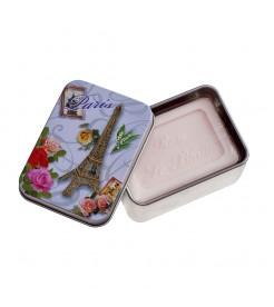 Мыло в жестяной коробочке Роза Загадочная Эйфелева башня 100 г  Le Blanc