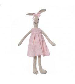 Кролик девочка в розовом платье с бантиком 35 см.