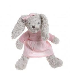 Кролик девочка в розовом платье 30 см