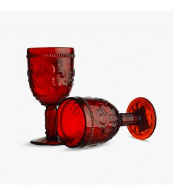 Бокалы для вина Лилия ярко красный  6 штук